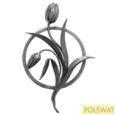 kovácsolt tulipán rozetta 430x250 12x12mm
