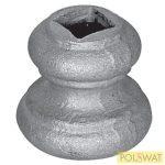 pálcára húzható kovácsolt oszlopdísz 44x45 lyuk: 14x14mm