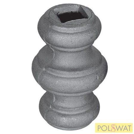 pálcára húzható kovácsolt oszlopdísz 67x45 lyuk: 14,5x14,5mm