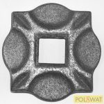 kovácsoltvas oszloptalp 100x100x10 lyuk: 25x25mm
