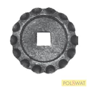 kovácsoltvas oszloptalp Ø75x5 lyuk: 16x16mm