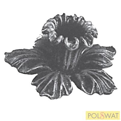 kovácsolt virág díszelem gyűszű alul levéllel 90x60mm