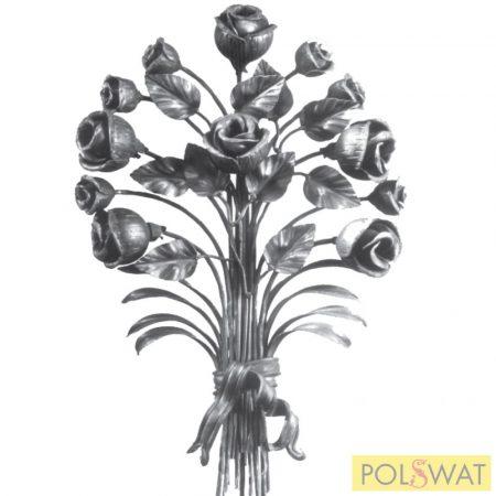 kovácsolt virág díszelem nagy csokor kovácsolt 550x370mm