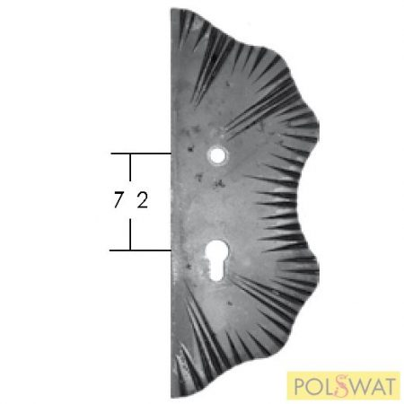 kovácsolt zártakaró díszelem jobb 285x105x5 lyuktáv: 72mm