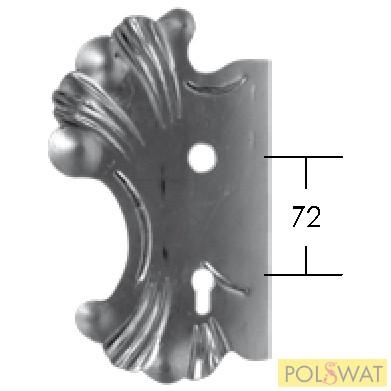 kovácsoltvas zárfedő bal 270x165 lyuktáv: 72mm