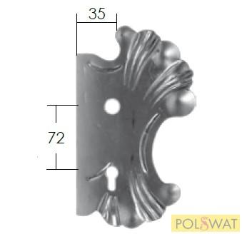 kovácsoltvas zárfedő jobb 270x165 lyuktáv: 72mm