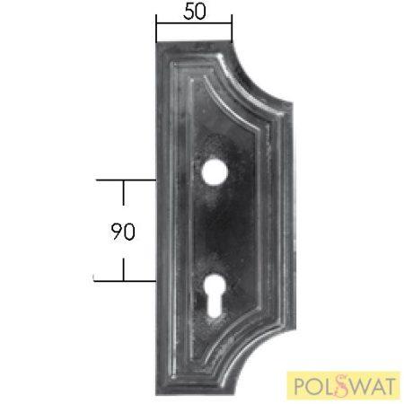 kovácsoltvas zárfedő jobb 280x110x3 lyuktáv: 90mm
