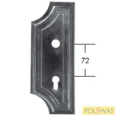kovácsoltvas zártakaró bal 280x110x3 lyuktáv: 72mm