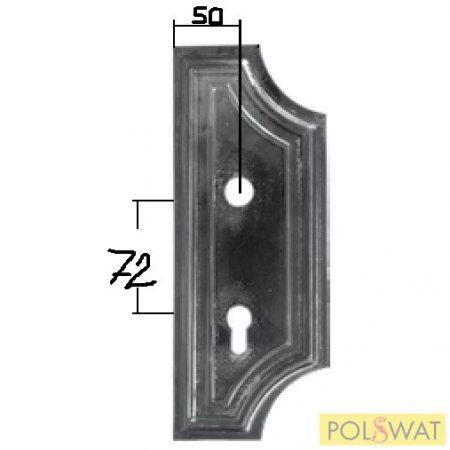 kovácsoltvas zárfedő jobb 280x110 zárköz: 72mm