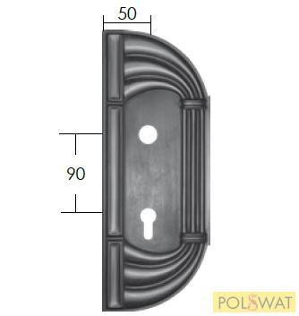 kovácsoltvas zártakaró díszelem jobb 315x120 lyuktáv: 90mm