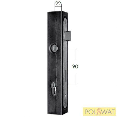 portálzár + zárdoboz 40x40-es zártszelvényhez hegeszthető hossz 245