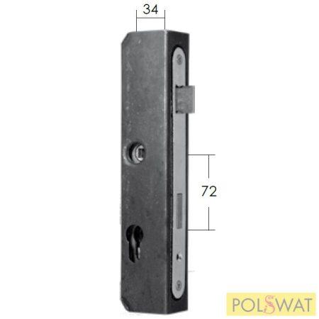 zárdoboz + zár 50x40x245mm kulcs és zár közti táv 72mm