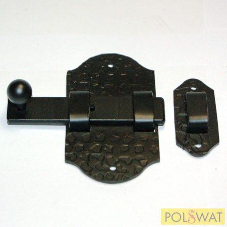 kovácsolt tolózár (retesz) reteszvas: 20x4-95mm talp: 55x100mm fekete