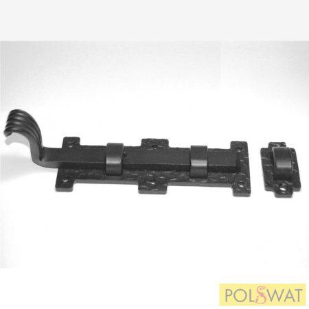 kovácsolt tolózár (retesz) reteszvas: 15x8-190mm talp: 60x160mm festett fekete