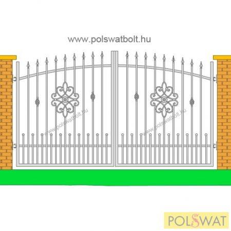 kovácsoltvas kétszárnyas kapu sűrítéssel festetlen 3m x 1,7m legyártjuk egyedi méretben is!